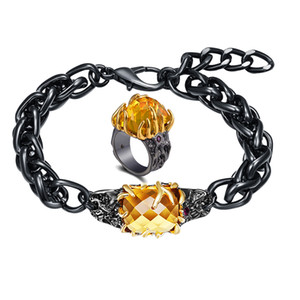 Free Length Thick Chain link Bracelet Ring Sets Big Golden stones Cool Black 2 pcs Jewelry sets for women