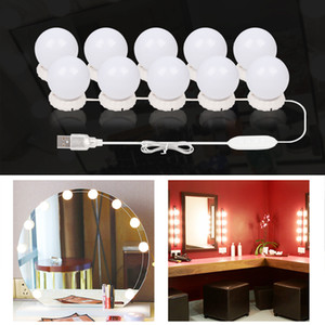 10 LEDs Bulb Hollywood Style Makeup Mirror Light Dimmable 3 Mode USB Plug LED Vanity Mirror Lamp Kit Lens Headlight Dresser Lamp C1002