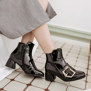 Sexy Ladies Middle Heel Boots Women Party Shoes Patent Leather Fashion Brand 2020 Women Boots Super High Heels Wholesale