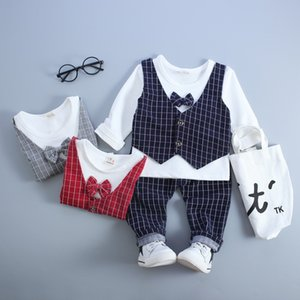 2020 HOT boys gentleman set Children's Autumn Suits clothes Outfits 3pcs T Shirt+Pants+Plaid Vest free shipping