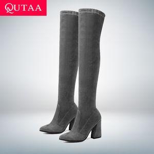 QUTAA 2020 femmes Cuissardes Tout haut Bottes match bout pointu Chaussures hiver élégant sélectionl femmes Bottes Taille 34-43 de C1016