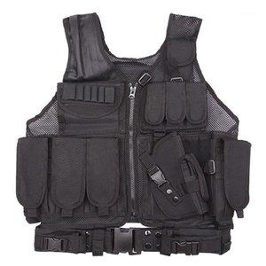 Охотничьи куртки Фабрика оптом боевой жилет армия камуфляж реальный CS дикий дышащий тренировочный оборудование тактическая рубашка Tactical Net Black1