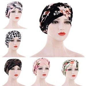 Women Floral Print Braid Turban Hat Elastic Cap Hair Loss Cover Headwear Soft Elastic Band Hair Loss Cap