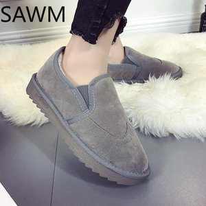 Women Autumn Winter Flats Slip On Casual Cotton Shoes Flat Heel Warm Cozy Female Plus Size Loafers Snow Shoes Anti Skid