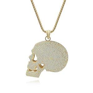 Meirenpeizi Личность Hip Hop Ветер Trend 2020 ожерелья Copper циркон цвета золота череп Horror Нейтральное ожерелье ювелирных изделия
