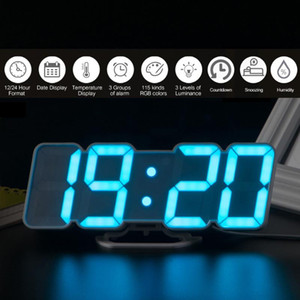 Upgrade 3D Remote Control Digital Wall Clock LED Table Clock Time Alarm Temperature Date Sound Control Night Light 115 Colors