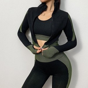 Jstong Gymkm Frauen Yoga Top Laufjacke Sport-BH Fitness-Mantel Breathable Gym Leggings Langarm-Sweatshirt