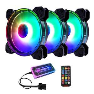 Вентиляторы Охлаждения Coolmoon RGB Вентилятор корпуса, 12см Силового света Выпущена + Стандартный контроллер Компьютерный вентилятор вентилятора CPU (3 шт.)