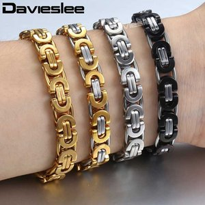 Davieslee Byzantine Chain Bracelet for Men Gold Silver Black Stainless Steel Mens Bracelets Wholesale Jewelry 6 8 11mm LKBM31