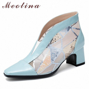 Meotina Summer Boots Women Shoes Natural Genuine Leather Thick Heels Ankle Boots Mesh Cutout Square Toe Shoes Ladies Size 33 43 Chelse MiP6#