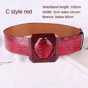 Straight fashion wide belt fashion Snake pattern wide seal Women's snake skin pattern squaredecorative belt all-match waist seal