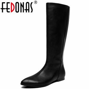 Fedonas Concise Tide Frau antumn Winter warmes Büro Schuhe Euro Style-Seiten-Reißverschluss Motorrad-Boot Kniehohe Stiefel Schuhe Frau