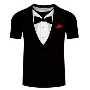T Shirts Summer Men Bow Tie 3D T Shirt Tuxedo Retro Tie Suit 3D Print Tshirt Casual Short Sleeve Streetwear Funny Fake Suit Tops