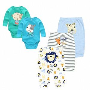 Kiddiezoom bébé Vêtements pour bébé Ensembles barboteuses + Pantalons costume unisexe Nouveau-né en bas âge Costumes Vêtements Coton Outfit KtQV #