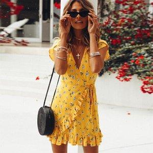 2021 Frauen Blumenkleid Sommer Damen Deep V-ausschnitt Shortsleeve Tailles Kleid Strand Rüschen Mini Hohe Taille Lace Up