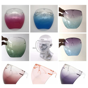 plastic safety faceshield with glasses frame transparent full face cover protective mask anti-fog face shield clear  masks