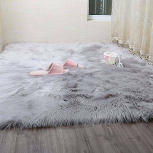 2021 Simanfei Hairy Carpets New Sheepskin Plain Fur Skin Fluffy Bedroom Faux Mats Washable Artificial Textile Area Square Rugs