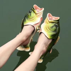 Divertida Zapatillas Hombre Calzado Family House Calzado Hombre de gran tamaño 33-47 de verano zapatillas de playa de los muchachos unisex de pescado zapatillas hombres 2020 C1019