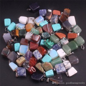 Bulk Natural stone Pendant pretty Quartz Point Healing Crystals Chakra Cross Heart charm For Necklace Jewelry Making