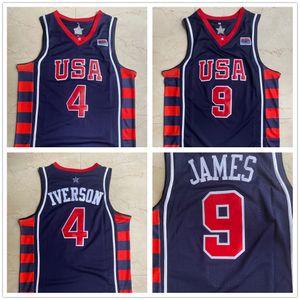2004 Games Othens Olympic 4 iverson 9 James USA Dream 6 USA FLEDSON BLUE BALL لكرة السلة