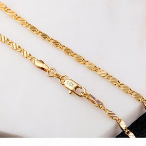 18K Gold Factory Price Sparkly Gold Color Necklace & Chain for DIY Jewelry Accessories Men Women Jewelry Luxury Gifts 16-30 Inches