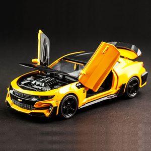 Hot Alloy Diecast Model Car Bumblebee Children Metal Toys Chevrolet Camaro Pull Back Wheels Kids Birthday Christmas Gifts