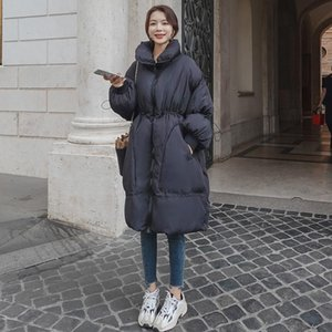 Autumn Winter 2021 Female Oversized Coat Down Mid-Length Waist Trimming New Fashion Thick Warm Loose Casual Women Jacket B18