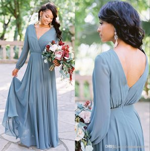 Bohemian V Neck Chiffon Bridesmaid Dresses Long Sleeves Pleats Floor Length Wedding Guest Dress Maid of Honor robes de demoiselle d'honneur