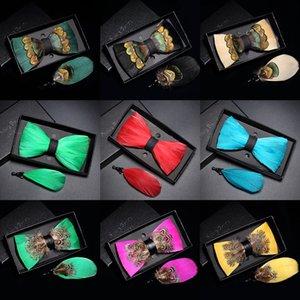 JEMYGINS Nueva lista de color hecho a mano del pavo real corbata de lazo de plumas broche sólida establece los hombres de alta calidad pajarita regalo del partido de la boda del pañuelo 201027