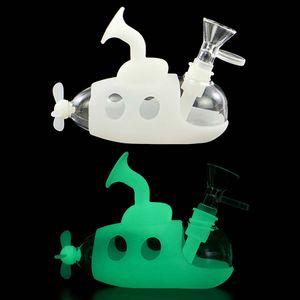Karanlıkta Glow Denizaltı Sigara Silikon Su Nargile Boru Cam Bong Borular Dab Rig Tütün Bowl ile Sigara