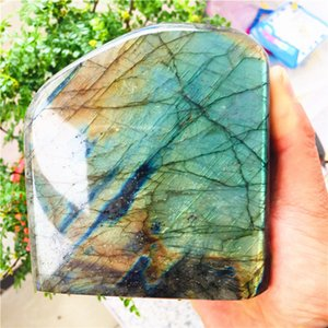 500-1.6kg Natural Crystal Moonstone Raw Gemstone Ornament Polished Quartz Labradorite Handicraft Decorating Stone Healing 201125