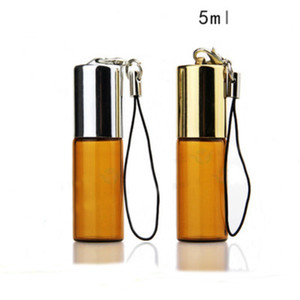 300 Pcs Lot Amber Empty Glass Pendant Sample Perfume Bottle with Steel Roller Ball&Glass Vials Small Promotion Oil