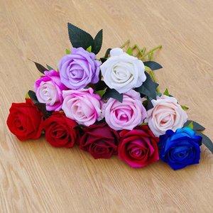 Creativo Single Artificial Rose 11 Colores Simulación Rosa Flor Fiesta de Boda Decoración Fallo Flower Día de San Valentín T9I00986