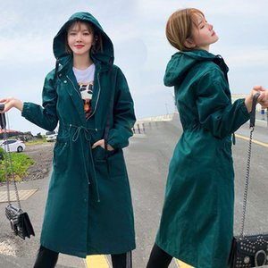 New Spring Autumn Long Trench Coat Women Long Sleeve Hooded Outerwear Korean Loose Tooling bf Female Windbreaker G38 200930