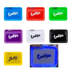 Rolling Tray Tobacco Rolling Papers LED Rolling Trays VS Tinplate Metal Tray for smoking pipes Glow In The Dark Trays dhl free