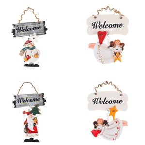Christmas Wall Door Wreath Xmas Decorations Welcome Santa Snowman Angle Porch Hangs Cartoon Figures Door Hang Wreath OWC2721