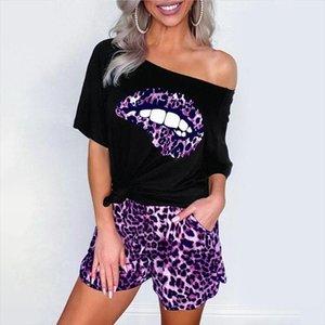 CYSINCOS Women Sport Tracksuit Two Piece Set Summer Print Short Sleeve Crop Top TShirt Pants Suit Jogging Outfit Club Set