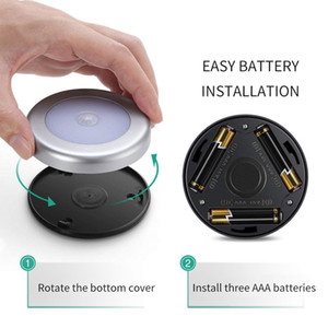 6 LED Night Light Bateria Powered Motion Sensor Light Step Stair Closet Luz Para Home Cozinha Corredor Armário Armário Banheiro HHD4796