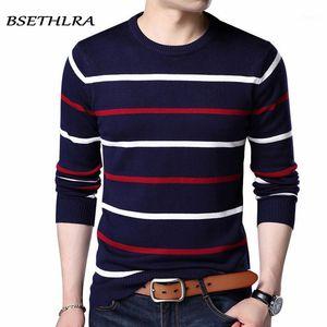 Bsethlra jersey hombres marca ropa 2020 otoño invierno lana delgado ajuste suéter hombres casual rayas tirón jumper plus size1
