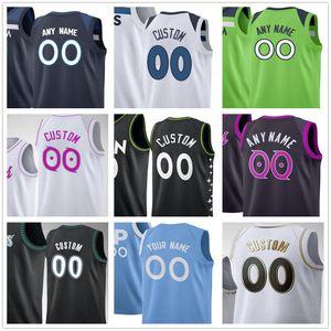 Custom Impresso Anthony 1 Edwards D'Angelo 0 Russell Karl Anthony 32 Cidades Ricky 9 Rubio Okogie Minnesota Timberwolves Homens Mulheres Camisas