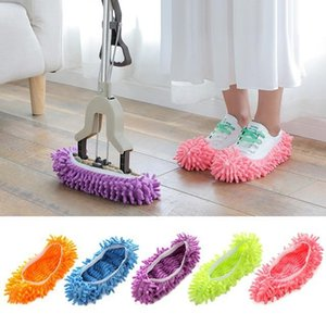 US STOCK Mopping Shoe Cover Multifunction Solid Dust Cleaner House Bathroom Floor Shoes Cover Cleaning Mop Slipper 6 Colors