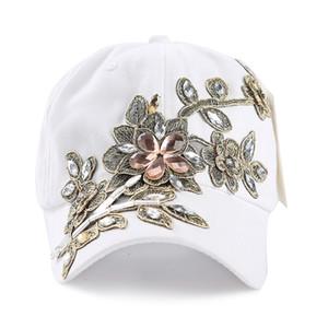 Hip boné de beisebol LVTZJ Nova Primavera Denim Cotton Snapback Hat Verão Cap Rhinestone Floral Hop Chapéus para mulheres Grinding Multicolor 201015