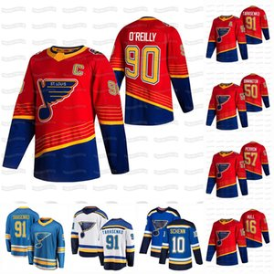 Ryan O'Reilly Capitão C Patch St. Louis Blues 2021 Reverse Retro Jersey Vladimir Tarasenko Binnington Brayden Schenn Jaden Schwartz