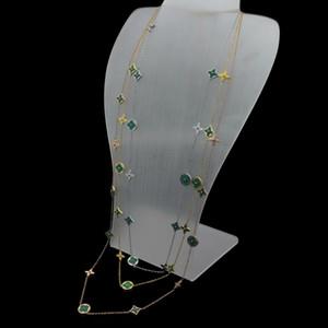 Europa Amerika Stil Dame Frauen Titanium Stahl Initialen Lange Halskette Pullover Kette mit 11 Motiven Mutter von Perlen Malachit Blume Charme