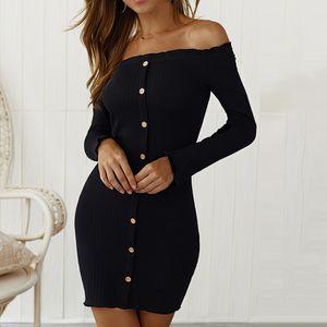 Sexy women off shoulder molded mini skirt cotton skin long sleeve autumn short spring short black women's evening dress
