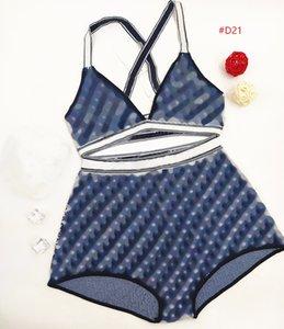 Latest Knitted Bikinis Vintage Letters Blue Split Swimsuit For Women Sexy Cross Shoulder Strap Bathing Suit New Swimwear Kqpjo