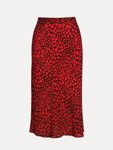 Bbwm Frau Französisch-Art-kleine Gänseblümchen-Herz-Leopard-Druck-Silk Trompete Röcke Vintage-Chic-Frauen-Sommer-beiläufige dünne Taillen-Rock