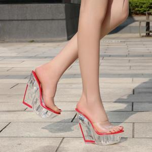 Odinokov PVC Peep Toe Tacones altos zapatos de mujer fiesta de verano cuñas zapatos de boda plataforma nupcial