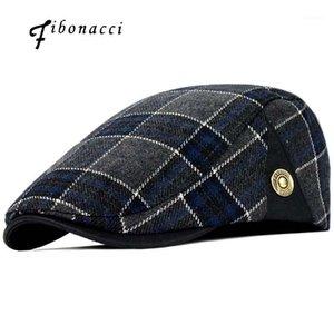 Fibonacci High Quality Retro Atención para adultos Hombres Wool Plaid Cabbie Flatcap Sombreros para la mujer Newsboy Caps1