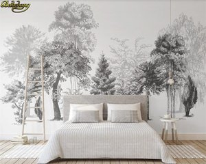 beibehang Custom wall paper mural modern minimalist black and white sketch style abstract wood TV background wall 3d wallpaper